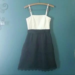 White House Black Market 0 LBD Ruffled Bow Dress